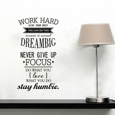 DIY Removable Work Hard Big Dream Wall Stickers motto Decal Home Decor Vinyl Art