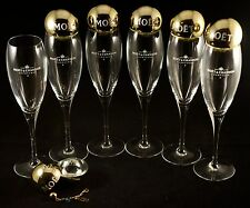 Champagne Moet & Chandon: 6 Tulip Glasses + Present Bowl with Colored Charm RARE