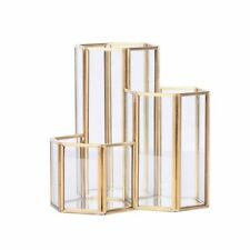 Glass Copper Hexagon Composite Pen Holder Makeup Brush Multifunction Organizer