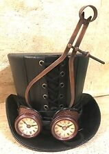 Steampunk Black  Leather look top hat with Mechanical & Clock Goggles In 59/60Cm