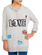 NoBo Juniors' Cowl Neck Sequin Graphic Super Soft Pullover Hoodie, XL 15-17