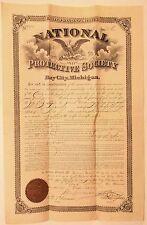 Vintage NATIONAL PROTECTIVE SOCIETY Insurance CERTIFICATE ~ Bay City, MI.~MEMBER
