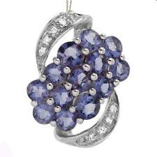 1.35ctw Diamond & Iolite 14K Solid White Gold Necklace