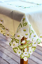 180x270cm (72x108in) Oblong Table Cloth,  Embroidered White Chrysanthemum FFD005