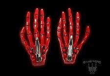Gothic horror pelo joyas XL esqueleto mano skeleton mano 2 St. pelo clip rojo
