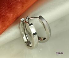 925 STERLING SILVER HUGGIE HINGED HOOP HUGGY  OVAL EARRINGS ~MH59~