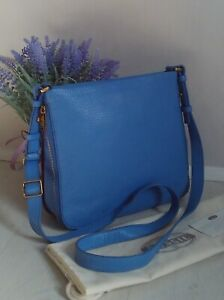 Fossil Preston Blue Leather Expandable Crossbody Bag Fits iPad Mini RRP£119