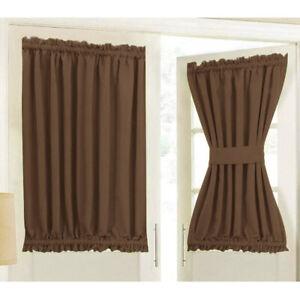 Home Front French Door Window Curtain Panel w/ Tieback Room Darkening Coffee