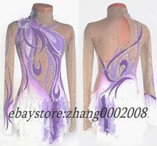 Ice skating dress.purple white Figure Skating.Competition Baton Dance Costume