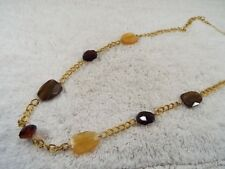 AVON Brown Cream Acrylic Bead Etched Chain Necklace (C9)