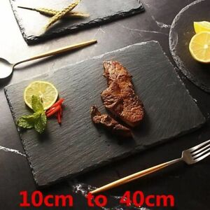 Slate Stone Dishes Natural Black Western Solid Square Sushi Steak Barbecue Plate