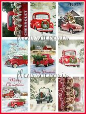 ~ Vintage Christmas Home for the Holidays Red Trucks 9 Prints on Fabric FB 525 ~