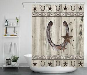 Farmhouse Rustic Gray Shower Curtain Western Barn Star Horseshoe Bathroom Decor