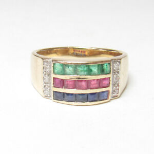 Estate 14K Yellow Gold Natural Sapphire, Ruby, Emerald And Diamond Ring 0.75 Cts