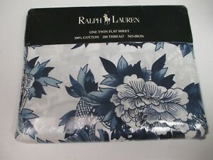 Ralph Lauren Nanking Porcelain Blue Dragon Flat Sheet - Twin