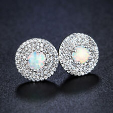 Excellent Round White Fire Opal Cubic Zirconia Gemstone 925 Silver Stud Earrings