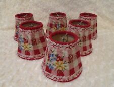 6 VTG red white pink gingham floral chandelier clip on needlepoint lamp shades