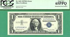 MISMATCHED SERIAL ERROR 1957B $1 SC - PCGS GEM 65 with PPQ - MISMATCH SERIAL