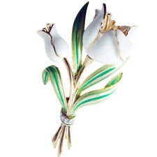 Gold Plated White Tulip Brooch With Swarovski Crystals Ari D Norman