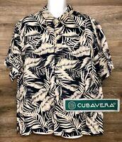 Cubavera Men's100% Linen Leaf Print Short Sleeve Button Front Casual Shirt XL