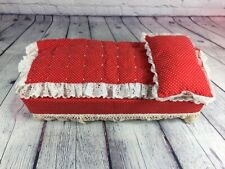 Vintage Handmade Doll Bed Red & White Laced Linens and Pillow