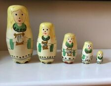 Vintage Angel Christmas Matryoshka Nesting Doll Wooden Russian Set of 5 Lot