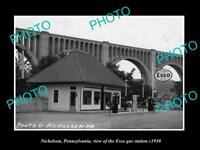 OLD LARGE HISTORIC PHOTO OF NICHOLSON PENNSYLVANIA, THE ESSO GAS STATION c1930