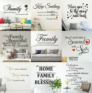 Custom Quotes Wall Stickers Family Removable Vinyl Decal Mural Home Decoration