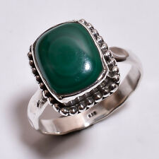 925 Sterling Silver Ring Size US 8, Natural Malachite Handcrafted Jewelry R3917