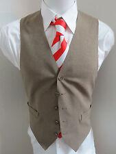 Sz M Tan Brown Solid VINTAGE Polyester #82N MENS Indie Suit Vest Waistcoat
