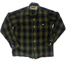 Vintage Forest Green Pendleton 1950's Flannel Shirt M / S -  Virgin Wool skate