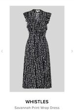 WHISTLES BLACK WHITE PRINT MIDI WRAP STYLE SAVANNAH DRESS UK 14