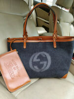 Gucci GG Wool Gray Tote Interlocking Shopper Bag Shoulder Brown Leather 247209