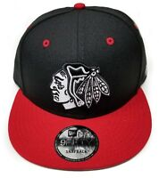 Chicago Blackhawks New Era 9Fifty 2 Tone Black White Snapback Hat Cap Black NHL