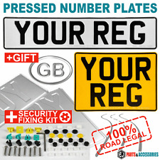OBLONG & SQUARE 11x8 PRESSED METAL EMBOSSED CAR 4x4 REG NUMBER PLATES 100% Legal