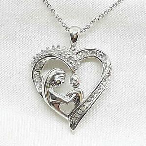 Genuine .52ctw H-SI Diamond 925 Sterling Silver Heart Necklace 4.6g