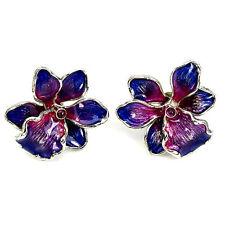 23mm Ravishing  Top Rich Red Ruby Enamel 925 Sterling Silver Orchid Earrings