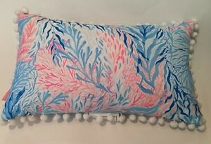 lilly pulitzier pillow 11x20 Inches, Blue, Pink, Ocean floor, Coral