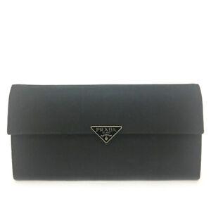 PRADA Logo Plate Black Leather Long Bifold Wallet Purse/F0454