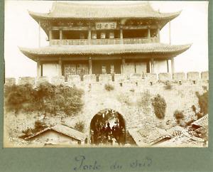 Asie, temple, porte du Sud Vintage albumen print, Tirage albuminé  11x16