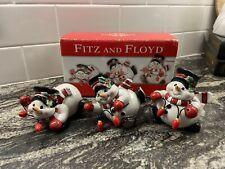 Fitz & Floyd Cheers Snowmen Tumblers Figurines Christmas Holiday Decor Set of 3