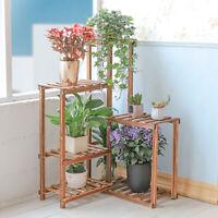 6Tier Wood Corner Rack Shelf Flower Stand Plant Ladder Pot Holder Indoor Outdoor