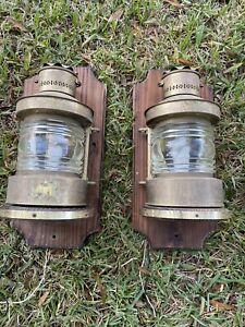 Rustic Ships Sconce Metal Glass Lantern Light & Wood Backplate Wall Lamp