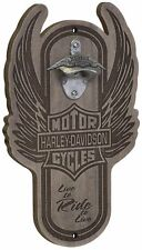 Harley-Davidson Wood Bar & Shield Magnetic Bottle Opener Cap Catcher Hdl-18570