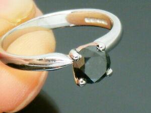 9ct Gold 0.75ct Black Diamond Solitaire Hallmarked Ring size M