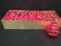 Vintage Italian Christmas 10 Miniature String Lights Red Beads