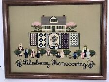 Cross Stitch Completed Blueberry Homecoming Framed Amish Country Cottage #3^y1