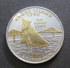 2001 Gold & Silver Highlighted State Quarter - Rhode Island -*No Reserve* (Q530)