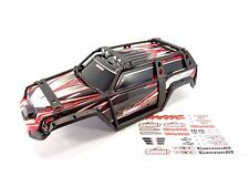 NEW TRAXXAS 1/10 SUMMIT BLACK / RED BODY SHELL WITH EXOCAGE & DECAL SHEET 5607