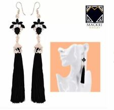 MACKRI Georgina Flower Shape Diamond Long Tassel Drop Earrings BLACK